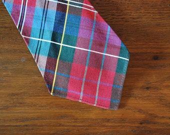 1930s-1940s 30s 40s red plaid tartan necktie tie