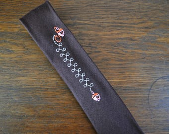 Skinny square end tie brown embroidery embroidered lanterns in pink and orange