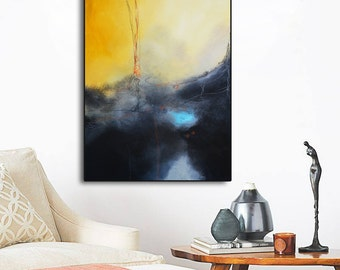 Yellow black abstract painting, acrylic painting on print, Modern painting, contemporary abstract, canvas print, yellow art, gold abstract