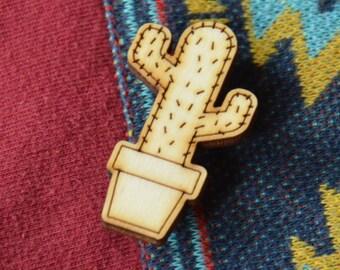 Cactus Wooden Brooch No. 1b