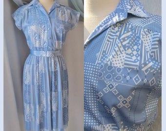 Secretary Pleats Day Dress, Blue White Print, Button Down, Vintage 60s 70s