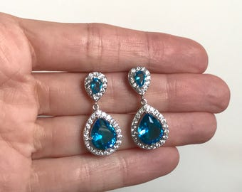 Blue Zircon Bridal Earrings Wedding Jewelry Faceted Cubic Zirconia Crystal Earrings Vintage Inspired Wedding Earrings Bridesmaids Jewelry