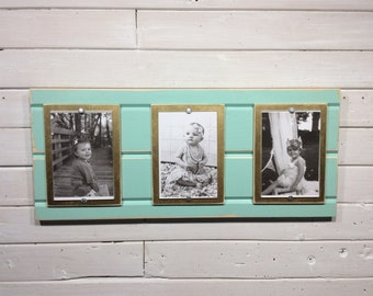 Distressed wood picture frame triple 4x6 mint green and gold