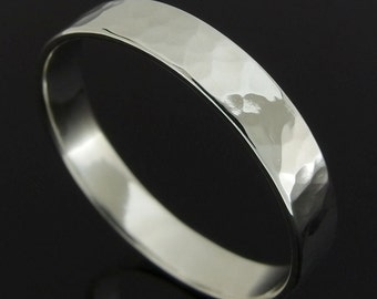 Hammered Sterling Silver Band Ring, Flat Profile Silver Wedding Band, Silver Wedding Ring, Sterling Silver Ring, Polished Finish