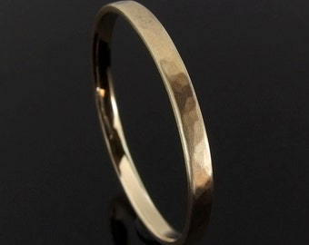 Hammered 14k Yellow Gold Band Ring, 2 x 1 mm, Gold Wedding Band, Gold Wedding Ring, Gold Stack Ring, 14k Gold Ring, Satin Finish