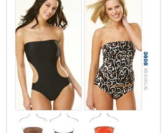 Sz XS/S/M/L/Xl - Kwik Sew Pattern K3608 by Kerstin Martensson - Misses' Strapless Swimsuits - Swimwear Pattern