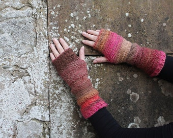 Arm warmers - multicolour mittens - extra long, gift for her  fingerless gloves, gift for her, knitwear UK