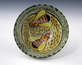 Bee Cereal Bowl - Ceramic Serving Bowl - Honey Bee - Pottery Clay Bowl - Majolica - Kitchen Prep - Yellow Green Bumble bee - Gift for Mom