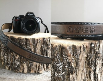 Leather Camera Strap //  Vintage Camera Strap  //  THE ATES