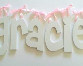Wooden Letters, Baby Name Wall Hanging, Custom Nursery Decor, Solid Painted Wood Letter, Word Art for Kids Rooms, Weddings, Home Decorating