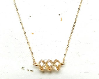 Golden Trio Necklace - gold swarovski crystal beads on gold filled chain simple layering handmade jewelry adenandclaire