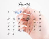 2018 Monthly Calendar PNG overlay template  for photographers 8x8in / white and black version