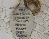 Memorial Large spoon tag ornament for candle or lantern, in memory of loved ones hand stamped rustic wedding