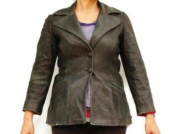 Vintage 70s Women's Small Leather Jacket/Retro/Boho/Hippie