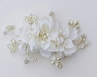Bridal Hair Comb, Wedding Comb, Ivory Comb, Floral Wedding Comb, ivory Bridal Comb,  Ivory Hair Comb,Freshwater Pearls, crystal comb