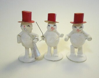 3 vintage paper mache SNOWMEN - made in Japan - paper mache, snowman band