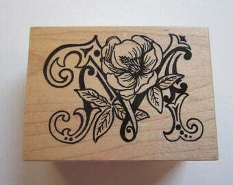 rubber stamp - botanical letter M - Magnolia - PSX F-1112