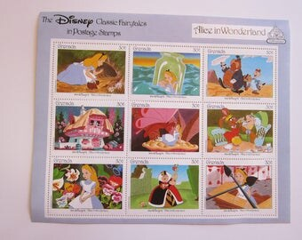 vintage ALICE in WONDERLAND postage stamps - Disney Classic Fairytales 50th anniversary stamp set - with COA