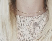 Gold filled choker necklace, skinny sequins, pretty layering jewelry