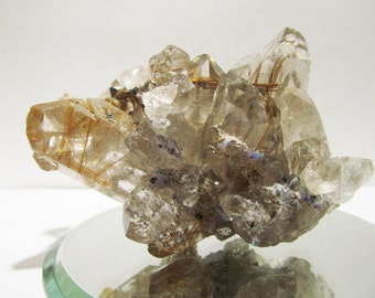 Quartz Cluster with Golden Hair Rutile Rutilated Inclusions -gold rutile - quartz cluster - quartz points rutilated -hairs of venus 17T175