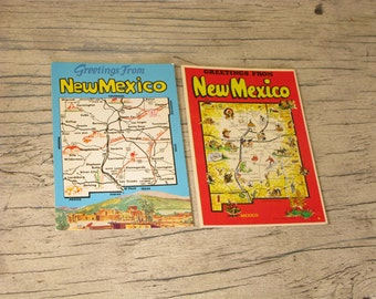 Two Vintage New Mexico Postcards, Red and Blue, American State, Western United States, Kitsch, Americana, Paper Ephemera, Southwest Souvenir