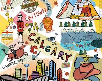 Calgary, Wall art, Print, icons, modern, illustration, Global City,Home decor Farida Zaman