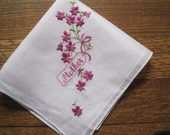 """Vintage Mother's Day Embroidered """"MOTHER"""" Hankie Floral Flowers Mother of the Bride Wedding Hanky Bridal."""