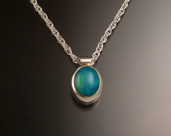 Blue Ethiopian Opal necklace Sterling Silver large stone Natural solid Opal