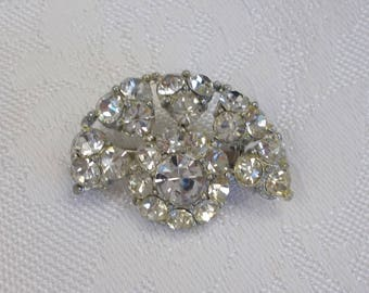 Fan Shaped Rhinestone Pin Brooch Vintage, Mid-Century Rhinestone Jewelry
