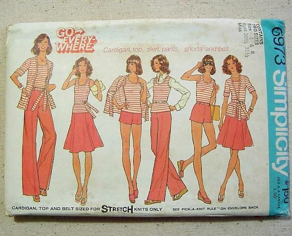 Vintage 70s Mix N Match Wardrobe Pattern Cardigan Top Skirt