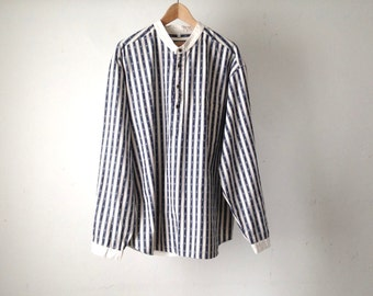 COLOR block twill 90s COTTON striped short sleeve button up shirt size XL blue and white