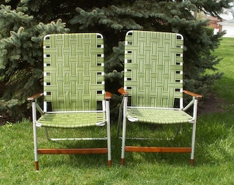 Vintage MCM Folding Webbed Lawn Chairs Local PICK UP only