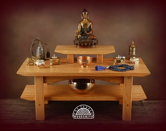 Floor style solid oak meditation altar with a shelf and removable pedestal.