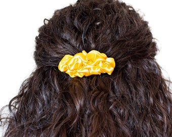 Yellow fabric small french barrette hair clip