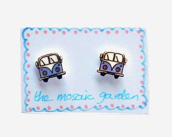 Campervan Earrings Blue, Combi Studs, Shrink Plastic, Gift for Her, For Mum, Jewellery, Mother's Day