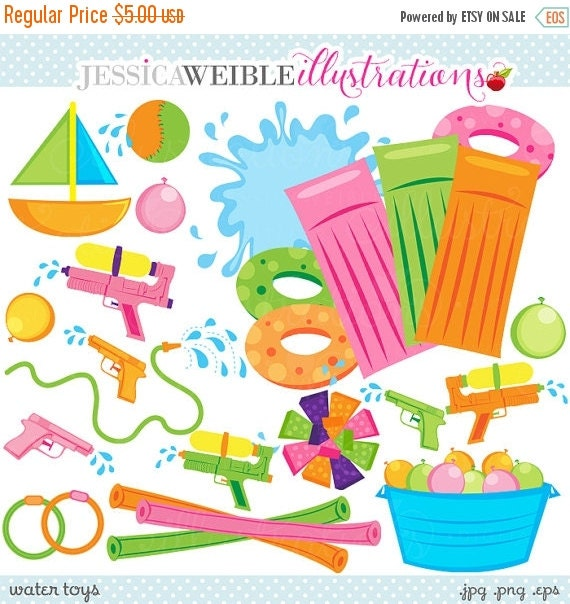 ON SALE Water Toys Cute Clipart, Summer Swimming Pool Toys Graphics, Splash clip art, Water Balloons, Water Guns, Summer clip art, Pool Part