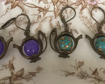 Teapot Earrings Mosaic Turquoise Purple Jade Quartz Set of Two