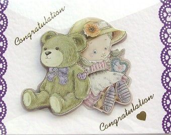 Teddy Bear Hand Crafted 3D Decoupage Card, Congratulations (2096), Layered Card, Baby Card, Birth of a Baby, Baby Shower, New Grandchild