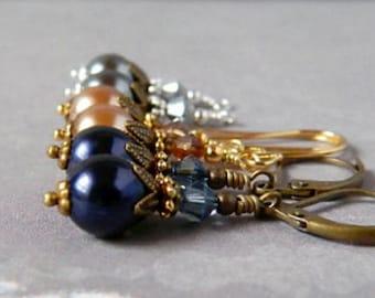 Boho Bridal Pearl Earrings Victorian Ivory Czech White Pearl Dark Blue Earrings Rose Gold Gray Earrings Swarovski Crystal Antique Brass Drop