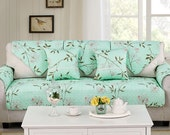 Spring Floral Sofa Cover Couch Slipcover Loveseat Cover Cotton Mint Green Home Decor