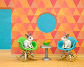 Eames chairs and rabbits in a woodland animal mid century nursery art print: The Rabbit Hole