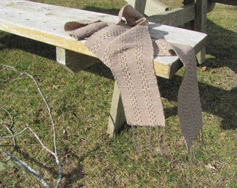 Long Narrow Light Brown Lace Stripe Wool Cotton Artisan Hand Woven Scarf, Autumn Fall Winter Mens Womens Scarf, Rustic Clothing Accessories