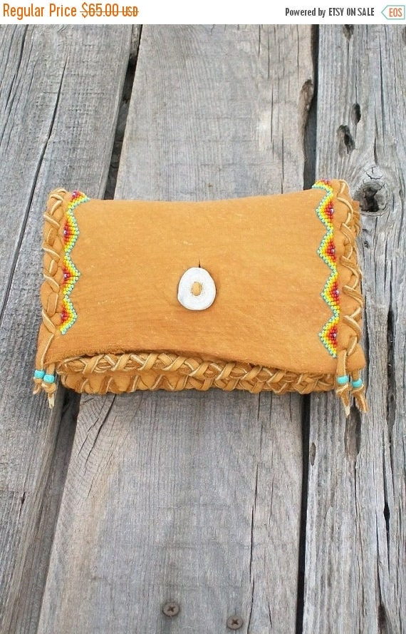 Beaded leather clutch ,   Buckskin leather clutch ,  Soft leather wallet ,  Beaded tobacco pouch ,  Handmade bag