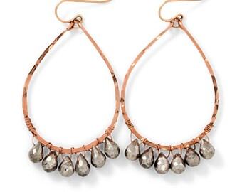 Silver Pyrite Rose Gold Earrings - Rose Gold Fill Hammered Teardrop Hoop Earrings - Pyrite Jewelry - Silver and Rose Gold Earrings