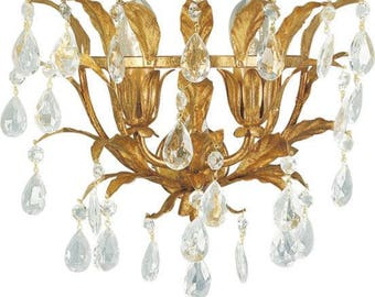 Luxury home golden basket sconce with golden leaves and Italian clear glass teardrops