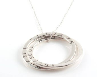 Personalised  Large Russian Ring Necklace , 4 Rings Necklace with Hand stamped  Names - Sterling Silver, Mother's Gifts
