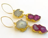 Gray and Fuchsia Agate Earrings with Gold