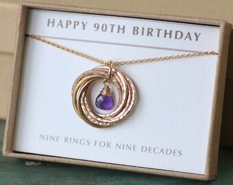 90th birthday gift for her, February birthday gift grandma, amethyst necklace gold - Lilia