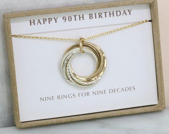 90th birthday gift grandmom, 90th gift for her, 9 interlocking rings necklace, meaningful gift - Lilia