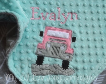 Personalized baby blanket- Jeep baby blanket with arrows- saltwater blue pink and grey arrows- Off road baby blanket- Name baby blanket